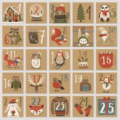 Christmas advent calendar, hand drawn style This is 100 vector collection. You can edit and scale it to any size. Use it for web design, flyers and other product. Included: Well grouped eps version) ai Text isn`t editable, fonts are not included. Christmas Mood, Christmas Design, All Things Christmas, Christmas Projects, Advent Calenders, Diy Advent Calendar, Christmas Calendar, Christmas Countdown, Christmas Activities
