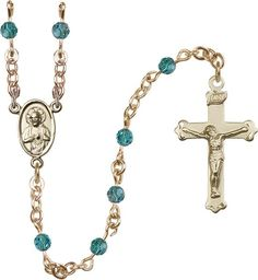 14kt Gold Filled Rosary features 4mm Zircon Swarovski beads. The Crucifix measures 1 1/8 x 5/8. The centerpiece features a Scapular medal. Each Rosary is presen