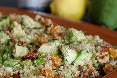 Salade van Quinoa, zoete aardappel en avocado