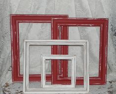 how to paint wood frames antique red | Distressed Red & White Picture Frames Set Of 4 Reclaimed Wood Frames ...