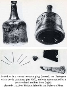 early example of an American witch bottle Witch Bottles, Bottles And Jars, Glass Bottles, Wiccan Altar, Wiccan Spells, Charmed Spells, Bedknobs And Broomsticks, Wooden Plugs, Traditional Witchcraft