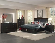 Shop Lindley Black Wood Vinyl Glass Master Bedroom Set with great price, The Classy Home Furniture has the best selection of to choose from Home Decor Bedroom, Modern Bedroom, Home, Bedroom Storage, Furniture, Storage Bed, Bedroom Sets, Bedroom Furniture, Modern Bedroom Furniture