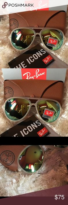 AUTHENTIC RAY BAN RB4125 CAT FRAME & LENSES Ray-Ban 4125 Cats 5000 Classic Frame material: Nylon Frame color: transparent Lenses: Green flash SIZE Shape: Pilot Size. Lens-Bridge: 59 13 Temple Length: 140 Ray-Ban Accessories Glasses