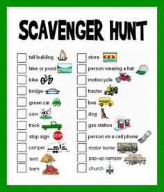 scavenger hunt picture list for toddlers - make these up for long drives.