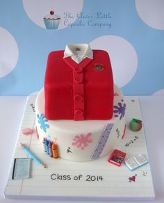 School Leavers/Prom Cake - I used Royal Bakery's fabulous sweater tutorial to make the polo shirt on the top tier. chocolate cake on top of a vanilla. Teachers Day Cake, Teacher Cakes, School Cupcakes, School Cake, Cake Pops, School Leavers, Gravity Cake, Shirt Cake, Funny Cake