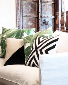 Village - Tropic Plush Tempted Lofty cushions for your Friday feels never looked better on the new Singita Linen Sofa, complete with removable slip cover! ••• Featured: Banana Leaf Cushions on Singita 3 Seater in sand.