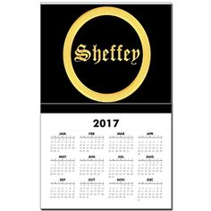 Sheffey Fonts - Gold and Yellow 9634 Calendar. Each new year is populated during the month of November.