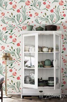 Removable wallpaper Vintage Peony Temporary wallpaper #afflink #wallpaper #floral