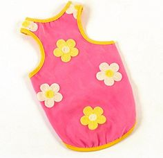 Sweet Yellow Pink Pet clothes T shirt dbl layer yarn Cat dog vest tank top with flowers ** To view further, visit now : Dog Shirts
