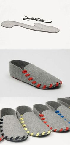 Felt shoes with one-piece sample