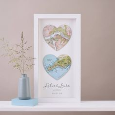 A unique and personalised engagement gift, wedding day or anniversary gift. Choose two treasured map locations of ANY location in the world. Celebrate a special occasion with our two map hearts artwork. We will hunt through our vast collection of maps and atlases to find the exact places you've asked for and handmake this unique piece just for you. Gift for a couple.  The hearts are cut from actual vintage maps. The frames are handmade in the UK from solid wood and UV perspex, which reduces fadi Bf Gifts, Easy Gifts, Unique Gifts, Wedding Anniversary, Anniversary Gifts, Heart Location, Heart Artwork, Heart Map, Custom Map