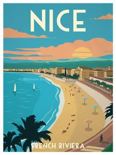 Nice Poster by IdeaStorm Studios Available exclusively at ideastorm. - Nice Poster by IdeaStorm Studios Available exclusively at ideastorm. Poster City, Poster S, Poster Prints, Vintage Sticker, Beach Posters, Photo Vintage, Poster Design, Nice France, Travel Illustration