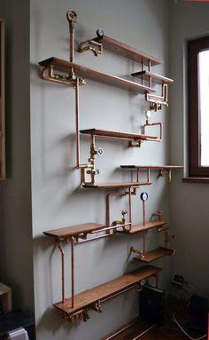 This copper pipe bookshelf.