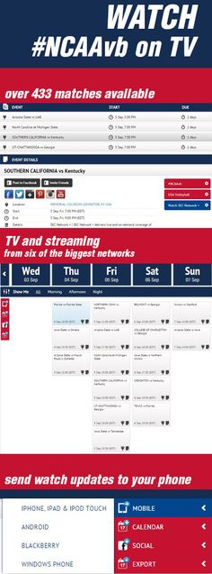 See where to watch #NCAA #volleyball on TV. Over 475 matches, get info, times, links sent to your phone, tablets and email! Never miss a volleyball match on TV again! #USAvolleyball