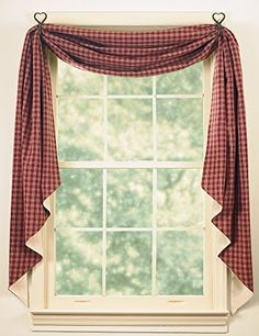 Sturbridge Wine Fishtail Swag Curtains by Park Designs features wine red & deep beige plaid. Rustic Country Kitchens, Country Decor, Rustic Decor, Primitive Curtains, Primitive Bedding, Swag Curtains, Primitive Kitchen, Primitive Country, Primitive Crafts