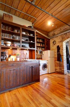 Wood Ceilings, Bedroom Loft, Wall Storage, Exposed Brick, Large Windows, Kitchen And Bath, Beams, Kitchen Ideas, The Unit