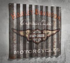 Retro cool. Hang the Corrugated Metal Sign in your man-cave, garage, basement, or backyard deck.