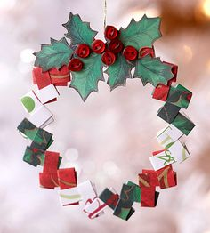 Folded Paper Wreath