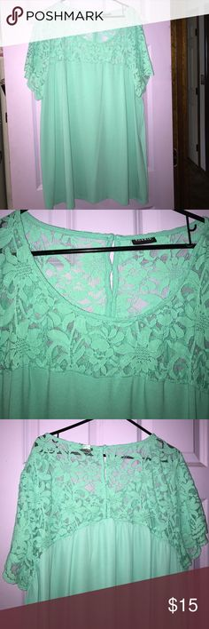 Mint green lace top torrid sz 4 Beautiful mint green top with lace detail on top. Cute buttons in back. Flowy. Runs big. Sz 4 torrid Tops Blouses