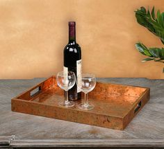 This Ambrosia wooden tray is covered with oxidized copper sheeting, giving each piece a one-of-a-kind look. Serve your guests in style with this tray that is sure to complement any serving set. Copper Tray, Wood Tray, Decorative Accessories, Decorative Items, Decorative Bowls, Rustic Mirrors, Rustic Wall Decor, Barn Wood Picture Frames, Kitchen Tray