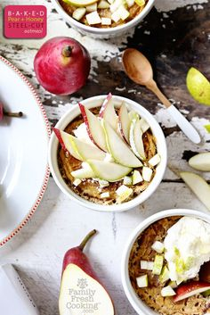 sounds delicious and hearty on a cold winter's day. ------->Baked Pear & Honey Steel Cut Oatmeal | FamilyFreshCooking.com