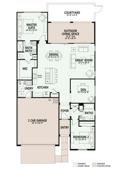 Luxury Retirement Communities for Active Adults and Seniors property- Ocotillo – Courtyard Bungalow House Plans, Small House Plans, House Floor Plans, Retirement House Plans, Luxury Floor Plans, Architectural House Plans, Tiny Cabins, Building Furniture, Traditional House Plans