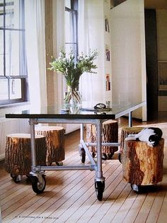 tree trunk stools on casters...
