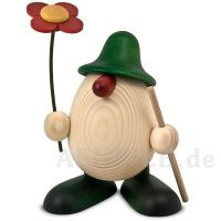 Egg head Rudi with flower and stick geen