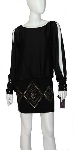 Hale Bob Dress NWT Sz Small Black Exposed Longsleeve Self Tie Keyhole Back