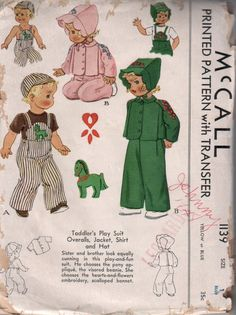 Vintage McCall 1940's Toddler Play Suit Sewing Pattern 1139 Size 1. $25.00, via…