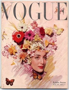 floral reference British Vogue June London Season, cover by Cecil Beaton. Vogue Magazine Covers, Fashion Magazine Cover, Fashion Cover, Vogue Vintage, Vintage Vogue Covers, Vintage Fashion, Vogue Uk, Vogue Fashion, Vogue Russia