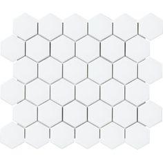 Anatolia Tile Hudson Hudson Brilliant x Porcelain Hexagon Mosaic Wall Tile (Common: x Actual: x at Lowe's. This brilliant white hexagon mosaic will add interest to any space. Hexagon Wall Tiles, Mosaic Tiles, Mosaics, Hex Tile, Home Depot, Stone Look Tile, White Tiles, Mosaic Patterns, Kitchen Backsplash
