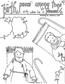 """""""Angels & Shepherds"""" Coloring Sheets for Christmas with Luke 2:14"""