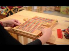 """Woman demonstrating how to warp and weave on a """"magic heddle"""" type of loom. In Japanese, but very easy to follow along with what she's doing."""
