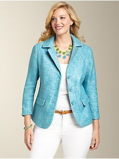 Talbots Kate Fit Romance Tweed Piped Jacket