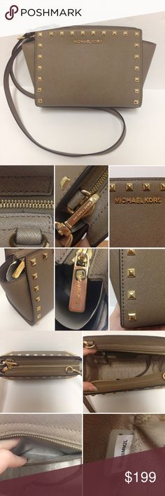 "Michael Kors Selma Medium Studded Messenger EUC Medium selma studded crossbody from Michael Kors. Color is dark dune. 100% cow leather, gold-tone hardware, one interior pocket. Dimensions are 11.5""W x 6.7""H x 4.3""D. Adjustable strap 21.5""-23.5"" with 5 holes. Comes with dust bag and care book. ONLY flaw is a faint mark near zipper, not noticeable. Open to offers but please do not lowball. Will not model. MICHAEL Michael Kors Bags Crossbody Bags"