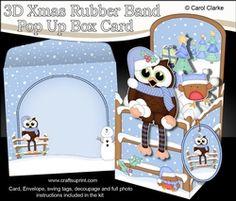 3D Christmas Rubber Band Pop Up Box Card - Christmas Little Hoot Owl Has A Snowball Fight