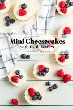 Mini Cheesecakes with Fresh Berries are the perfect dessert to serve for a party, BBQ or even baby shower. Plus, they look great on a dessert table!