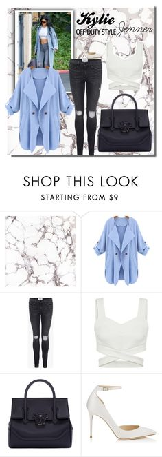 """Kylie Jenner 1"" by spaceemo ❤ liked on Polyvore featuring Frame Denim, Versace and Jimmy Choo"