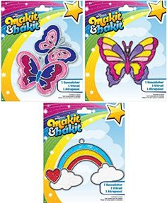 Suncatcher Kits - Butterflies, Large Butterfly, Rainbow with Clouds - by Makit
