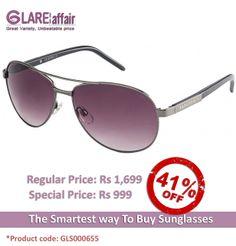 Farenheit Superb 961 Gunmetal Grey Gradient C2 Aviator Sunglasses http://www.glareaffair.com/sunglasses/farenheit-superb-961-gunmetal-grey-gradient-c2-aviator-sunglasses.html  Brand : Farenheit  Regular Price: Rs1,699 Special Price: Rs999  Discount : Rs700 (41%)