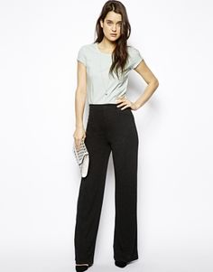 Image 1 of ASOS Wide Leg Pant in Soft Jersey Knit