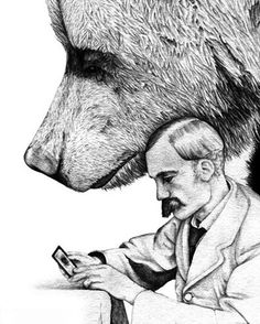 Amy Dover - Henrietta - Print of a Bear, a Man and a Mysterious Woman