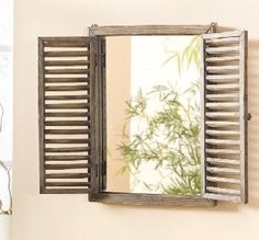 Mirror with Shutters Frame Rustic Wooden Shutter Bathroom Wood Living Decor Rustic Mirrors, Home Decor Mirrors, Decorative Mirrors, Wall Decor, Wooden Walls, Wooden Frames, Country Cottage Interiors, Shutter Designs, Rustic Shutters