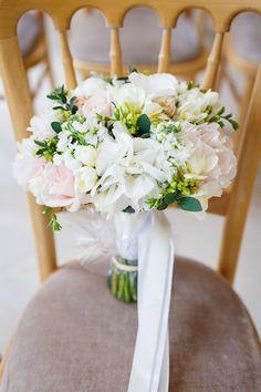 White Pink Green Cream Bouquet Flowers Ribbons Bride Bridal Rose Soft Modern Vintage Garden Wedding http://kirstenmavric.co.uk/