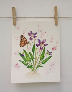 ORIGINAL Watercolor Painting  Butterfly & Host by WildEthereal, $85.00