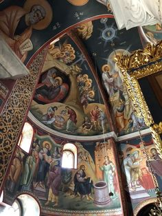 Church Interior, Byzantine Icons, Orthodox Icons, Mural Art, Christianity, Art Gallery, Architecture, Painting, Temples