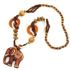 Lemon Value 6 Style Bohemia Vintage Charms Elephant Pendants Boho Maxi Retro Wooden Bead Long Chain Necklaces Women Jewelry H006 - Style 1