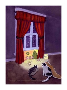 Funny Cats Christmas Card - Humorous Cat And Mouse Christmas Greeting Card - The…