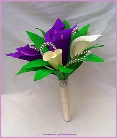 Crafty little Beanut!: Purple and cream Calla Lilies wedding bouquet set